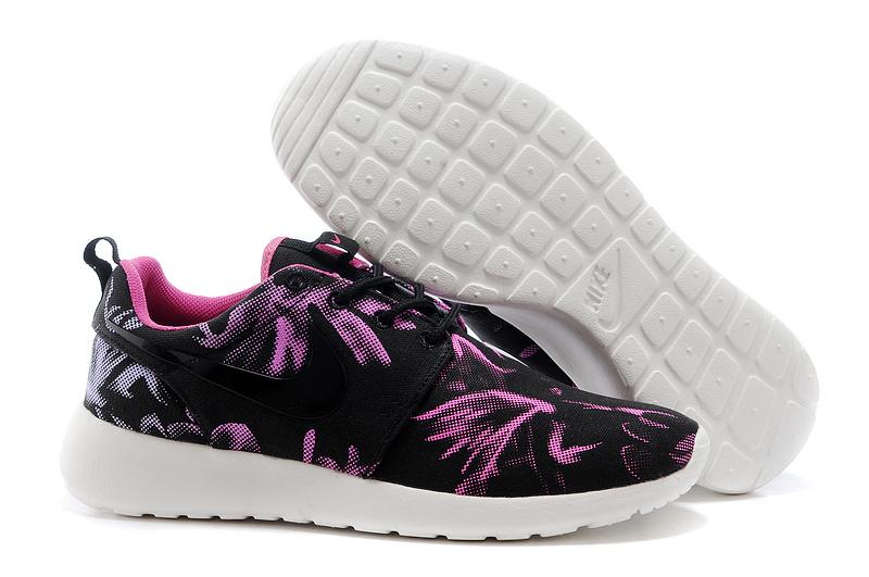 New Nike Roshe Run Black Purple Print Lovers Shoes