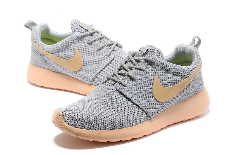 New Nike Roshe Run Grey Orange Lovers Shoes