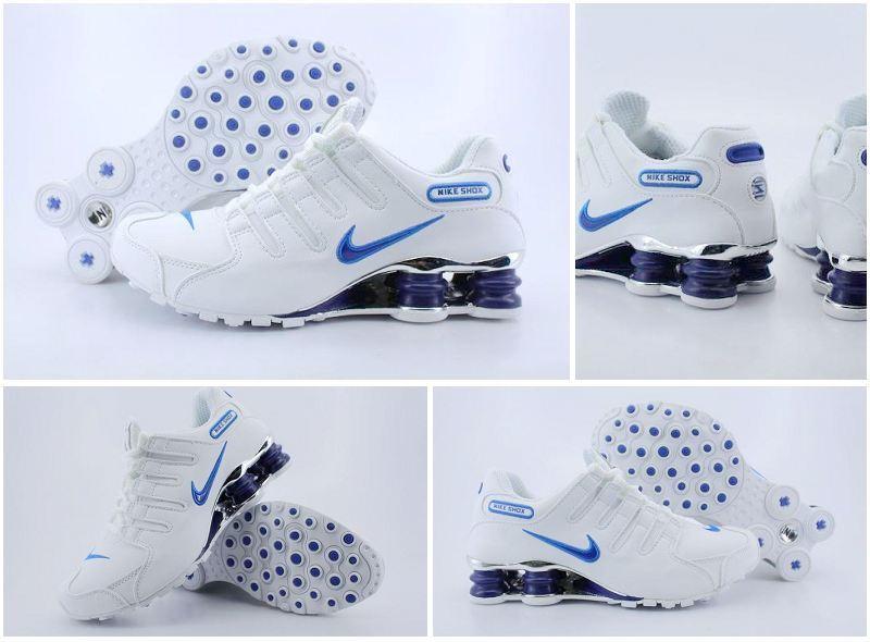 Men's Nike Shox NZ White Royal Blue Running Shoes