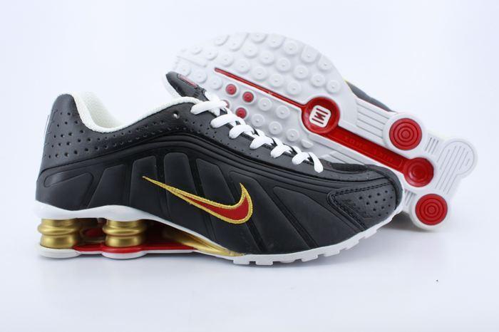 Men's Nike Shox R4 Black Gold Red Running Shoes