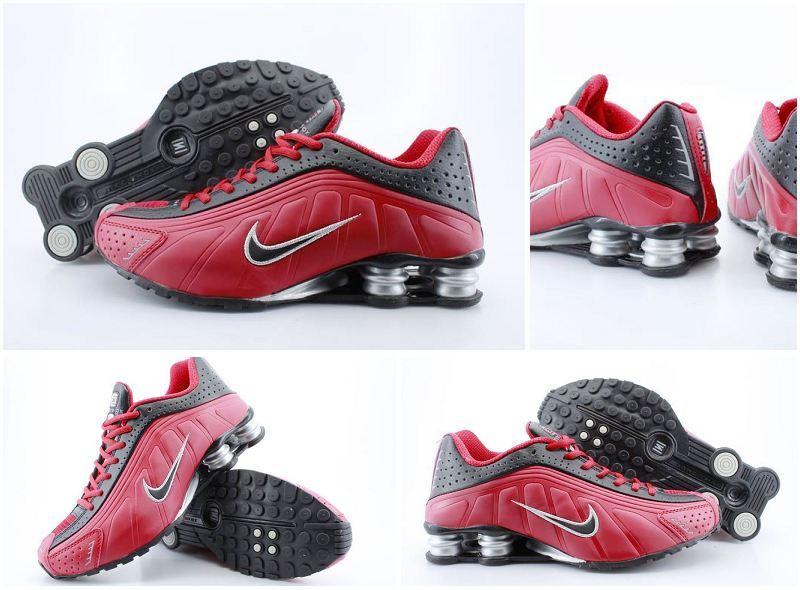 Men's Nike Shox R4 Black Red Black Running Shoes