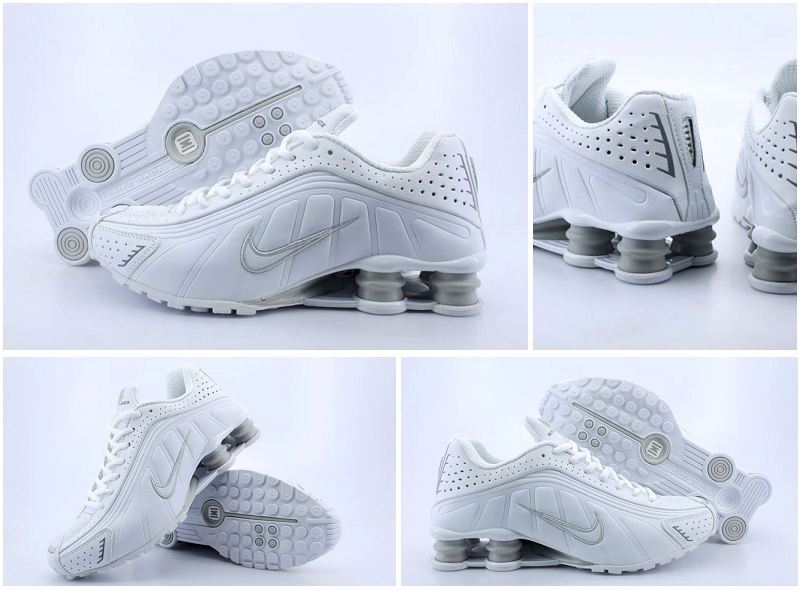 Men's Nike Shox R4 White Grey Running Shoes