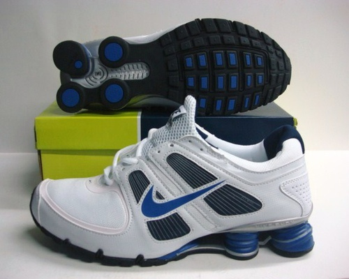 Sportive Nike Shox R5 White Blue Logo Running Shoes
