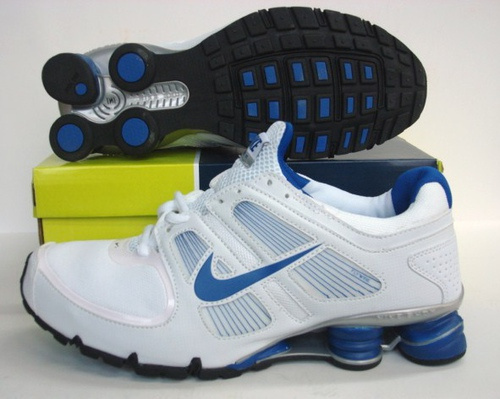 Sportive Nike Shox R5 White Blue Running Shoes