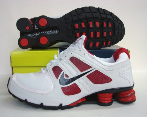 Sportive Nike Shox R5 White Red Black Running Shoes