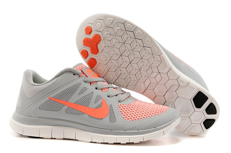 New Women Nike Free 4.0 V4 Grey Orange White Running Shoes