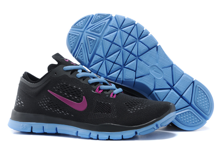 New Women Nike Free Run 5.0 Black Blue Purple Training Shoes
