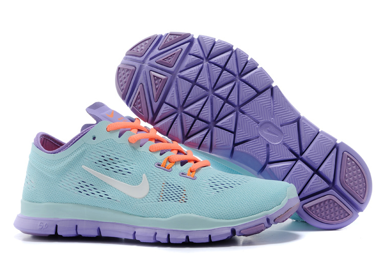 New Women Nike Free Run 5.0 Green Purple Orange Training Shoes
