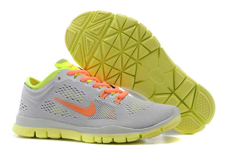 New Women Nike Free Run 5.0 Grey Orange Fluorscent Training Shoes