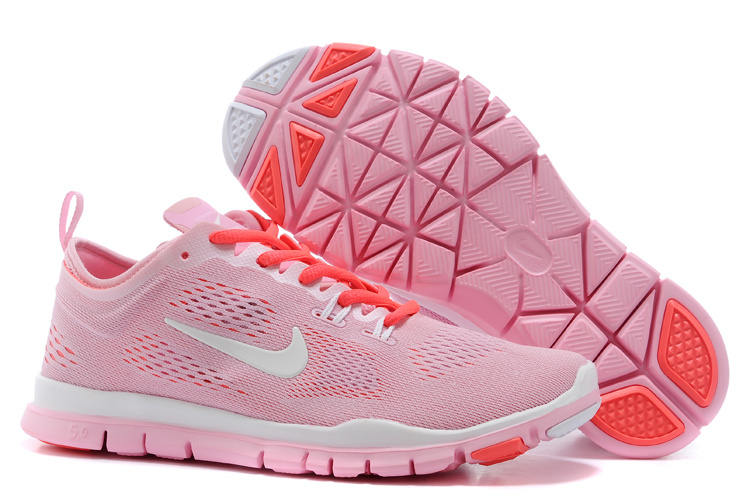 New Women Nike Free Run 5.0 Light Pink White Training Shoes