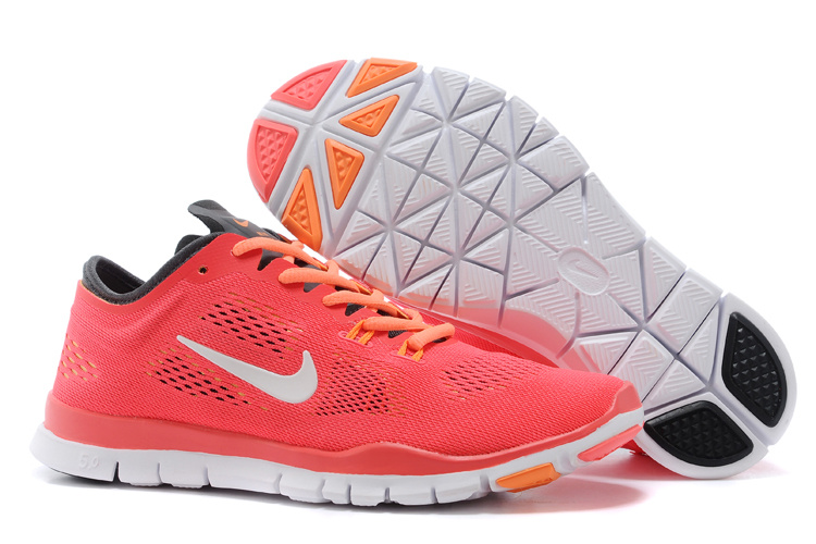 New Women Nike Free Run 5.0 Orange White Training Shoes