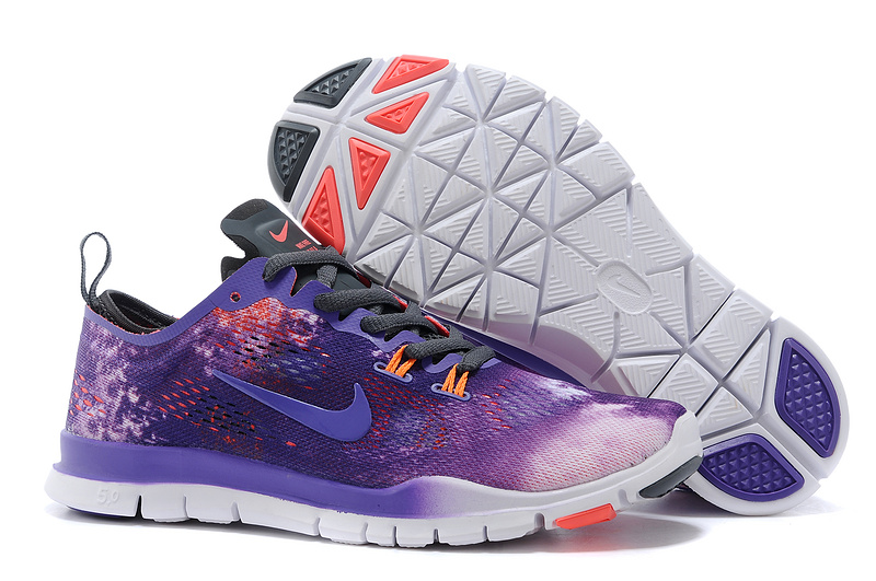 New Women Nike Free Run 5.0 Purple Orange White Training Shoes
