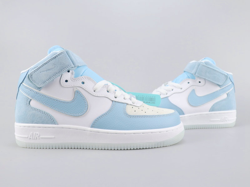 2020 Nike Air Force 1'07 White Baby Blue Shoes For Women