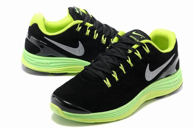 Nike 2013 Moonfall Black Green Yellow Running Shoes