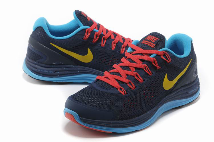 Nike 2013 Moonfall Grenadine Black Blue Red Yellow Running Shoes