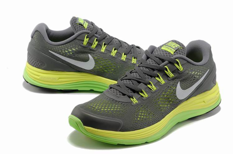 Nike 2013 Moonfall Grenadine Grey Yellow Green Running Shoes