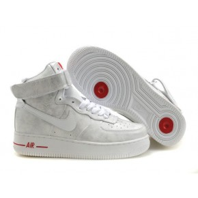 Nike Air Force 1 High Grey White Red Shoes