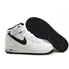 Nike Air Force 1 High White Black Swoosh Shoes