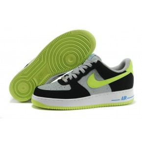Nike Air Force 1 Low Grey Black Fluorscent Green Shoes