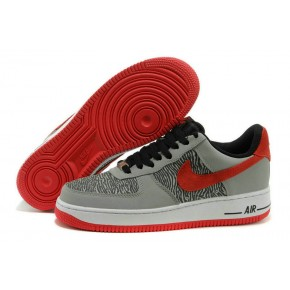 Nike Air Force 1 Low Grey Red Black Shoes
