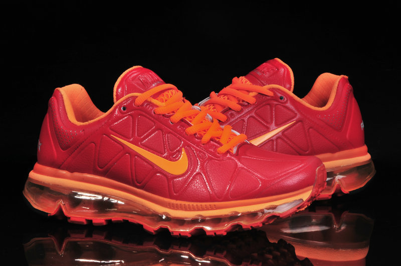 Men Nike Air Max 09 5 Leather Red Orange
