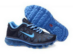 Women Nike Air Max 2011 Black Blue Logo Shoes