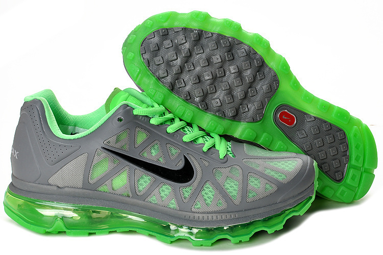 Women Nike Air Max 2011 Grey Green Black Shoes