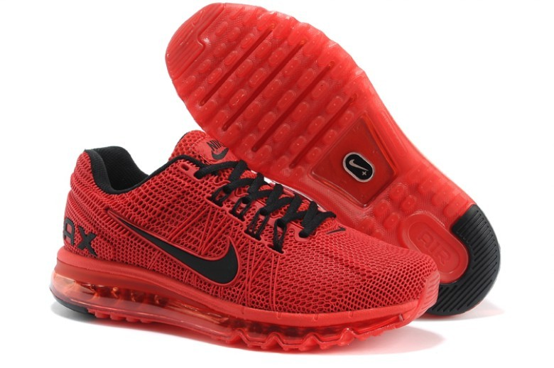Nike Air Max 2013 Red Black Logo Running Shoes