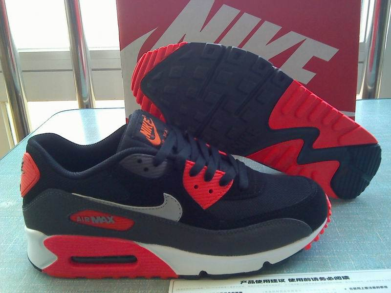 Nike Air Max 90 Black Dark Blue Red Men Shoes