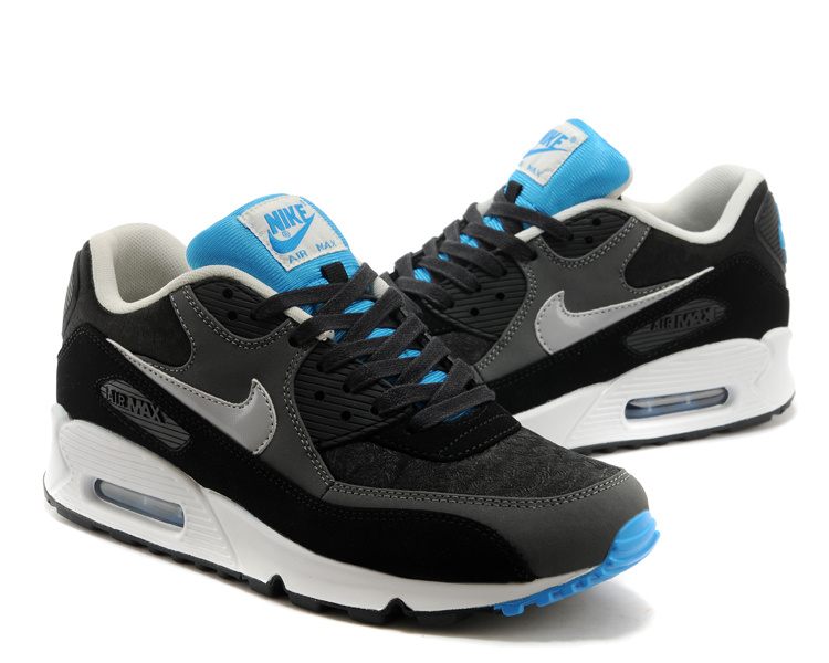 Nike Air Max 90 Black White Blue Women Shoes