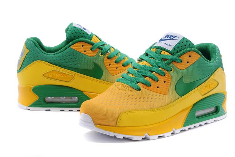 Nike Air Max 90 Knit Yellow Green White Shoes