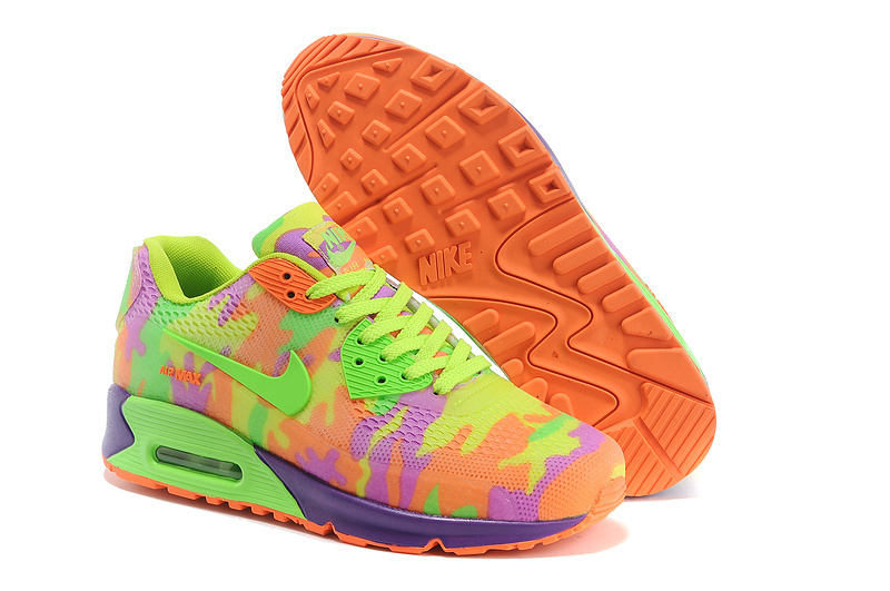 Nike Air Max 90 Rubber Patch 2 Camouflage Green Orange Purple For Women_01