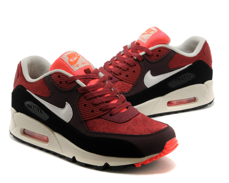 Nike Air Max 90 Wine Red Black White Lovers Shoes