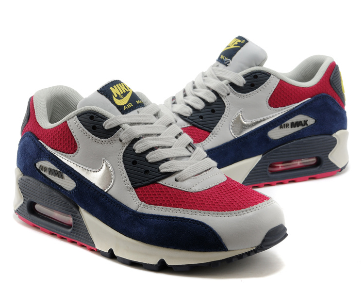 Nike Air Max 90 Women Grey Red Blue Black Shoes