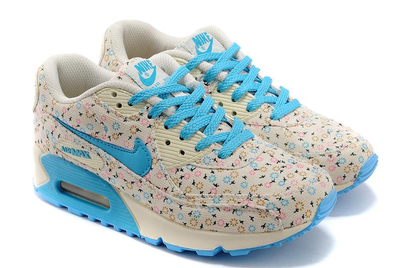 Nike Air Max 90 Womens Shoes Shivering Print Blue White