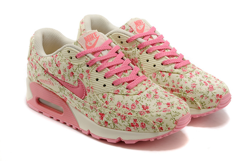 Nike Air Max 90 Womens Shoes Shivering Print Pink White