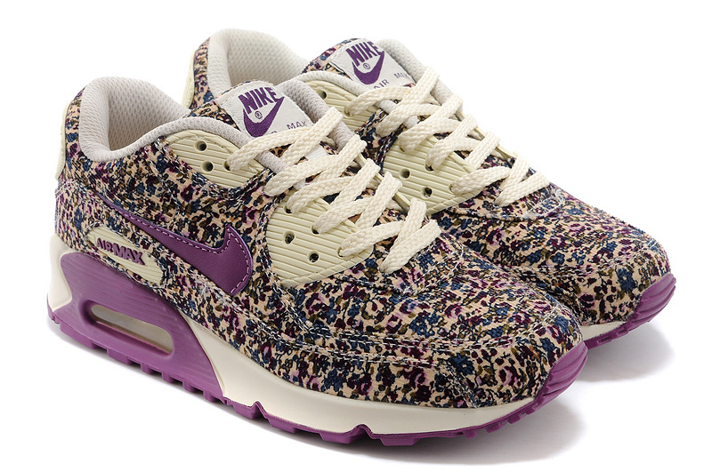 Nike Air Max 90 Womens Shoes Shivering Print Purple White