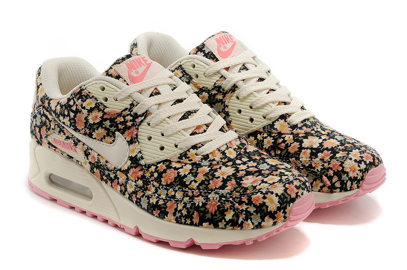 Nike Air Max 90 Womens Shoes Shivering Print White Pink