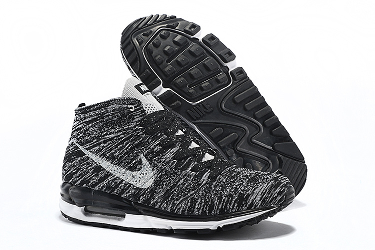 Nike Air Max Lunar90 Flyknit Chukka Black White Shoes