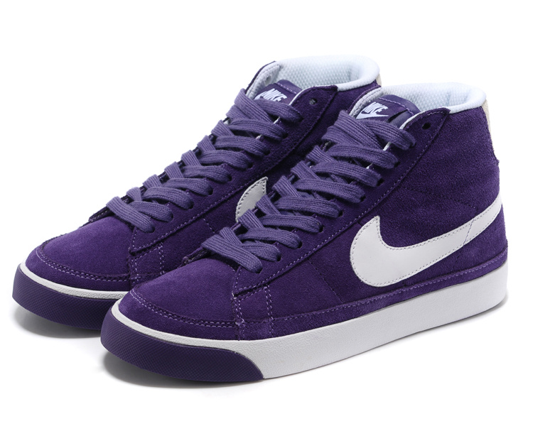 Nike Blazer 2 High Suede 1689 Purple White Women's Shoes