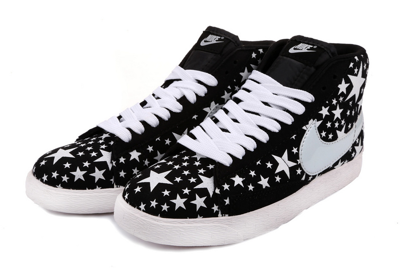 Nike Blazer High Midnight Black White Stars Women'ss Shoes