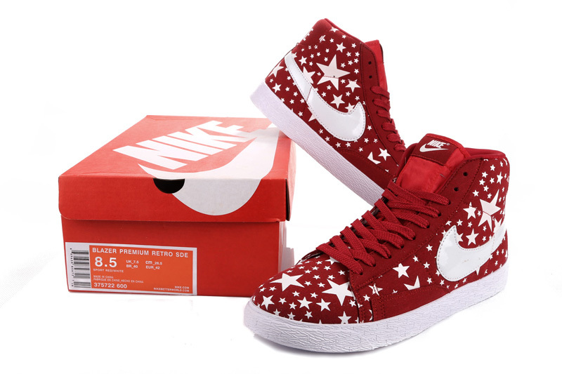 Nike Blazer High Midnight Red White Stars Women's Shoes