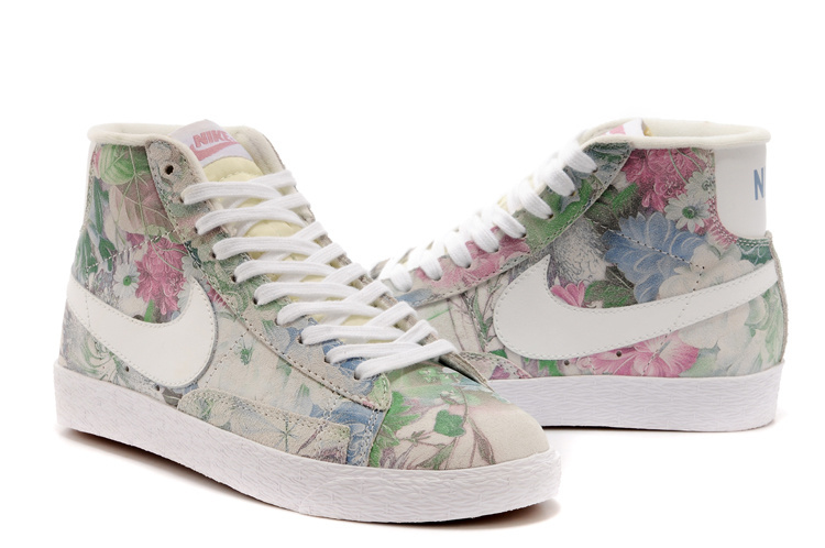 Nike Blazer Mid Grey Green Pink Flower Women'ss Shoes
