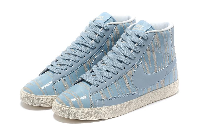 Nike Blazer Zebra Stripe Baby Blue White Men's Shoes
