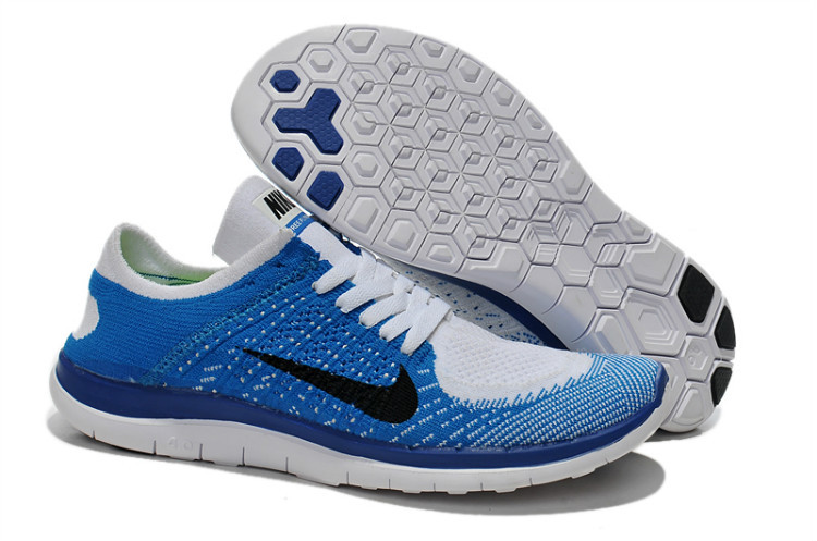 Nike Free Run 4.0 Flyknit Blue White Black Running Shoes