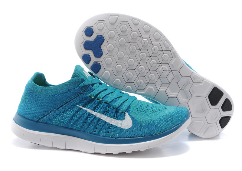 Nike Free Run 4.0 Flyknit Blue White Running Shoes