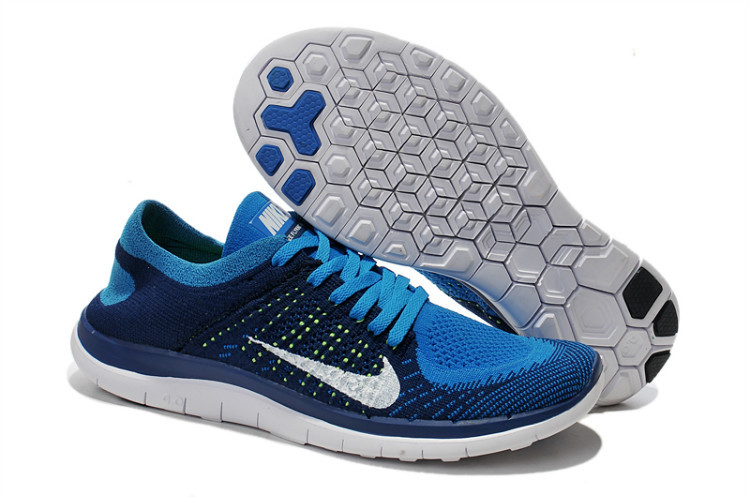 Nike Free Run 4.0 Flyknit Dark Bluen White Running Shoes