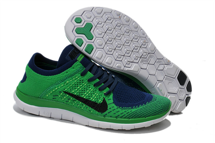 Nike Free Run 4.0 Flyknit Green Blue White Running Shoes