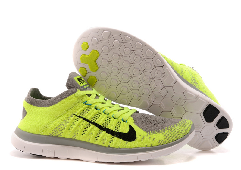 Nike Free Run 4.0 Flyknit Green Grey White Running Shoes
