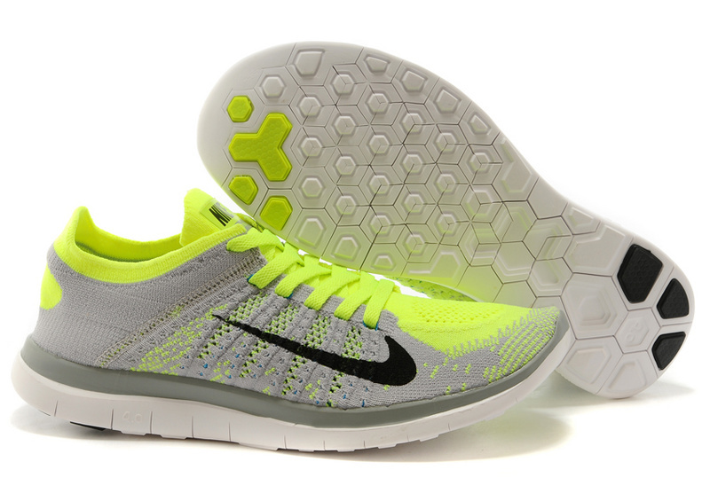 Nike Free Run 4.0 Flyknit Grey Green White Running Shoes
